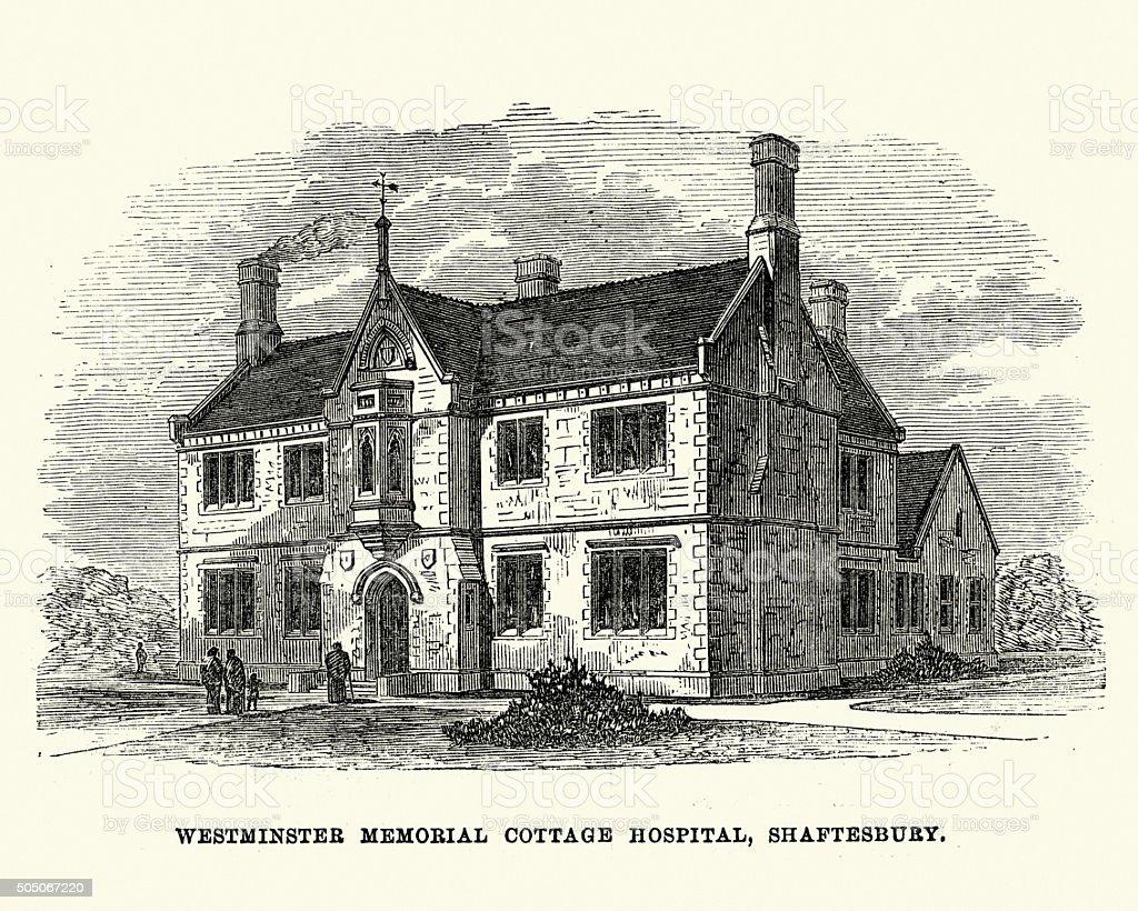 Westminster Memorial Cottage Hospital, Shaftesbury, 1871 vector art illustration