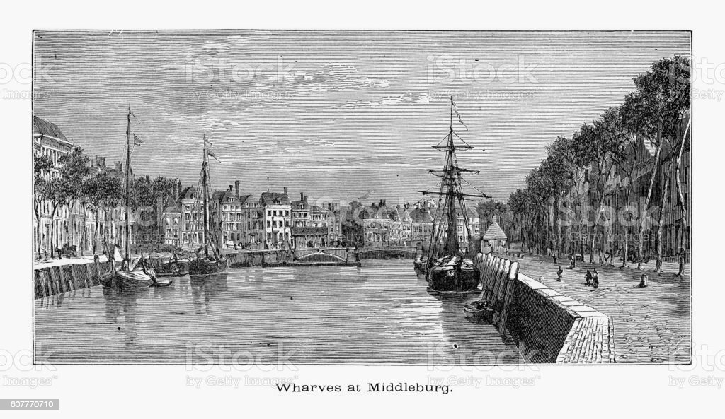 Wharves or Wharf, at Middleburg, Zeeland, Netherlands 1887 vector art illustration
