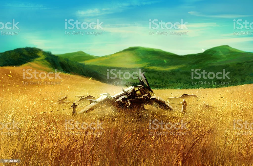 Wheat field with robot. vector art illustration