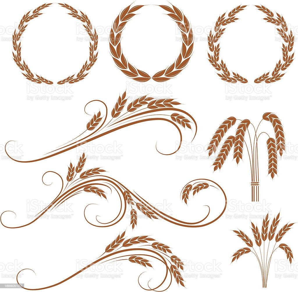 Wheat wreaths vector art illustration