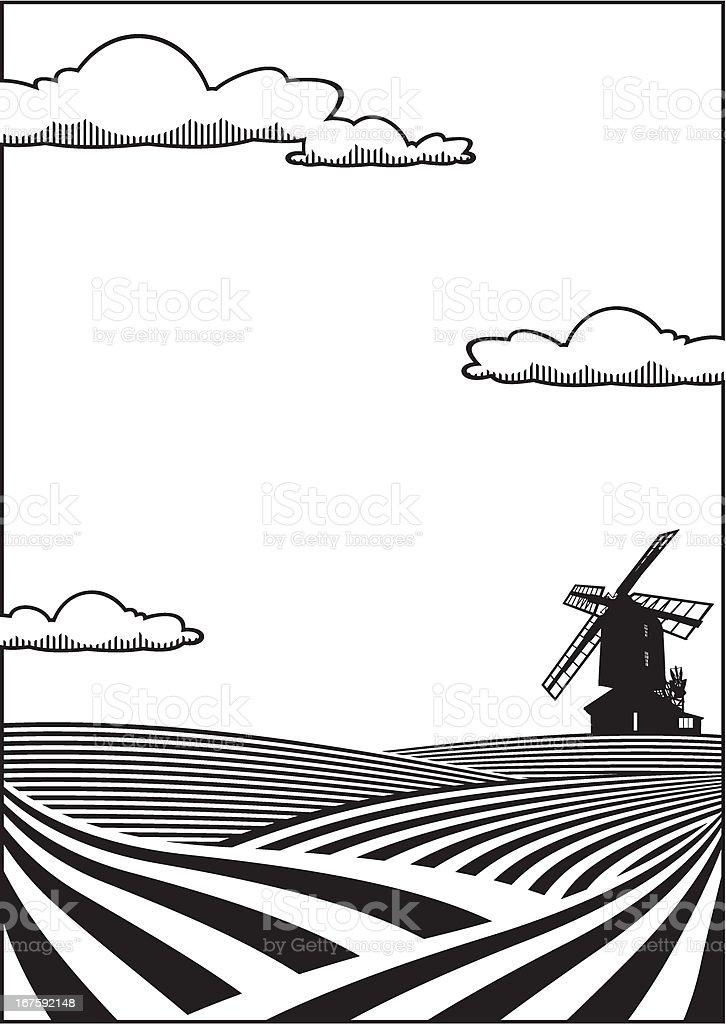 Wheatfield background vector art illustration