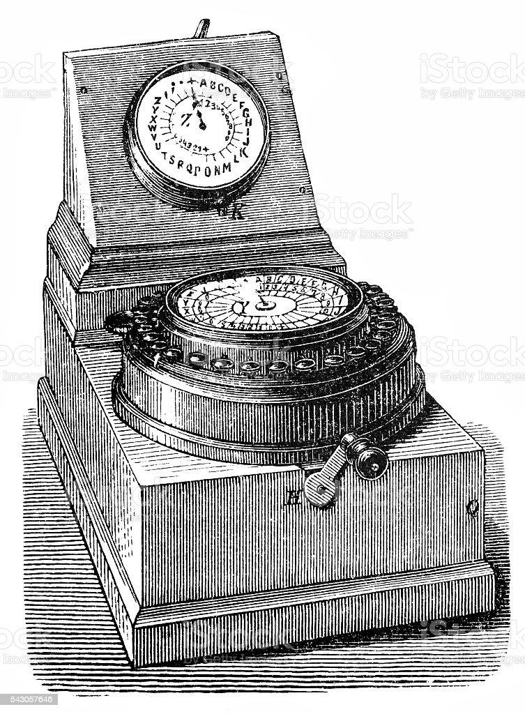 Wheatstone automated telegraph network equipment vector art illustration
