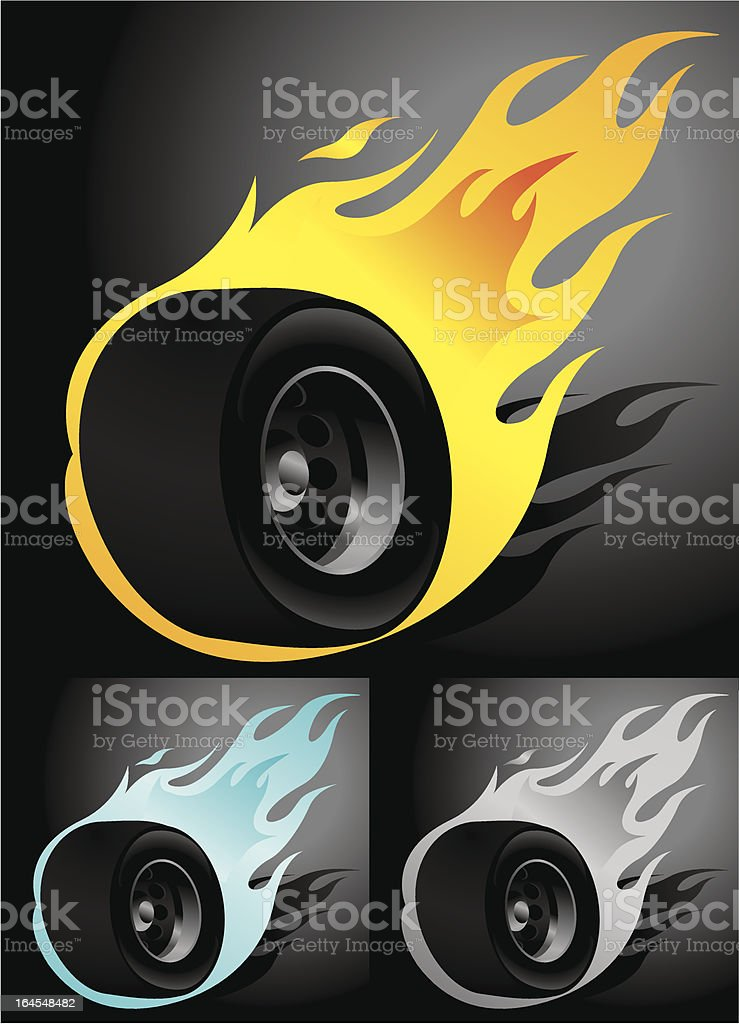 Wheel on Fire royalty-free stock vector art