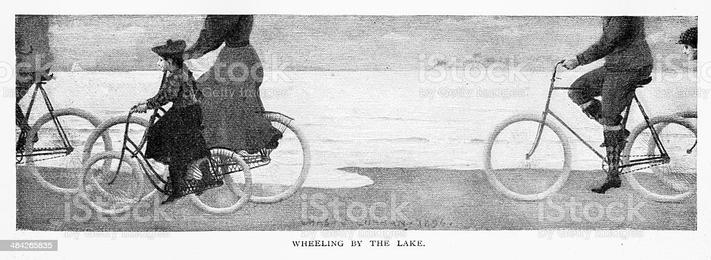 Wheeling By The Lake vector art illustration