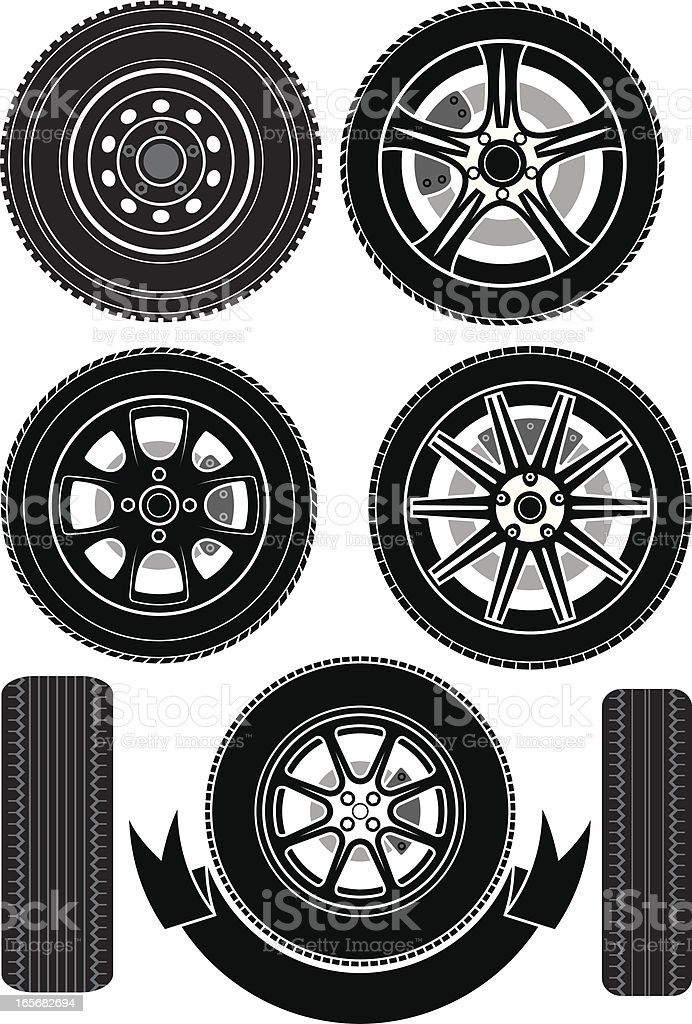 Wheels and tyres vector art illustration