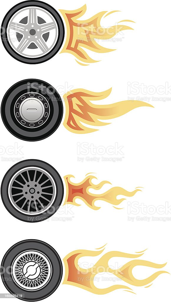 Wheels with flames royalty-free stock vector art