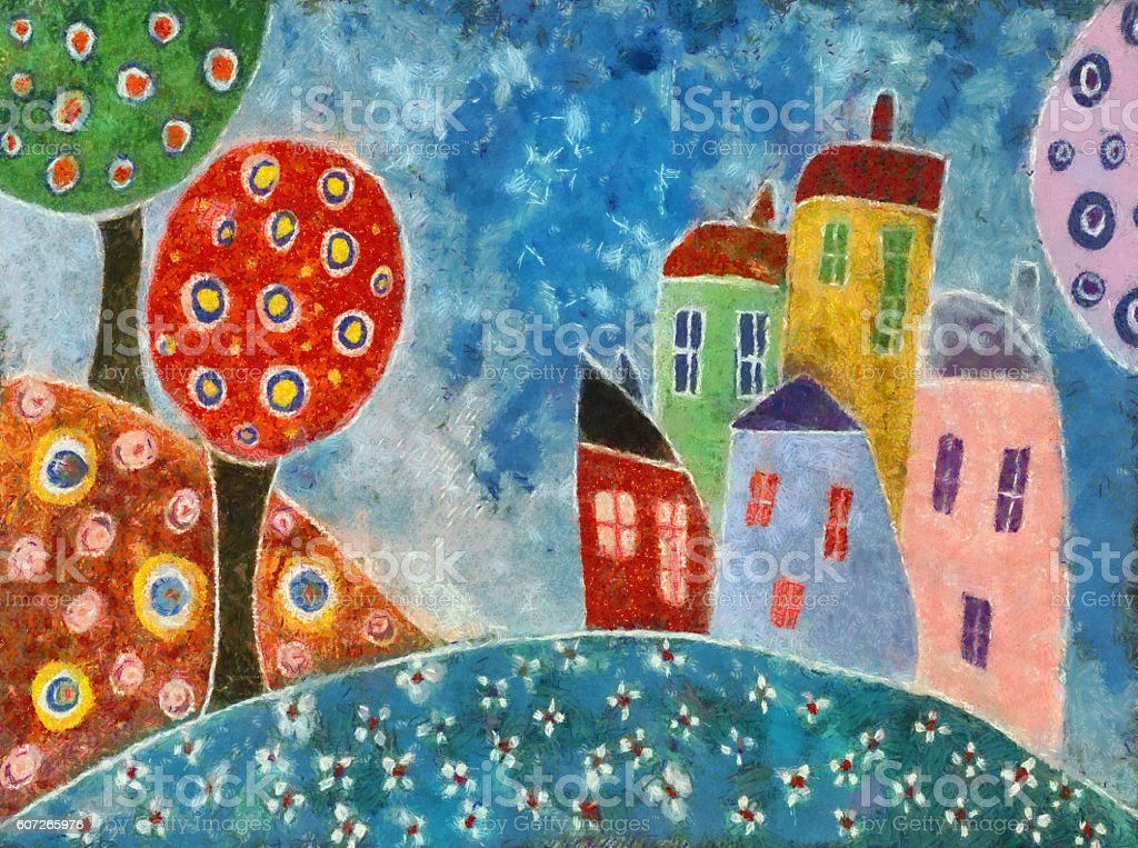 Whimsical Landscape Painting vector art illustration