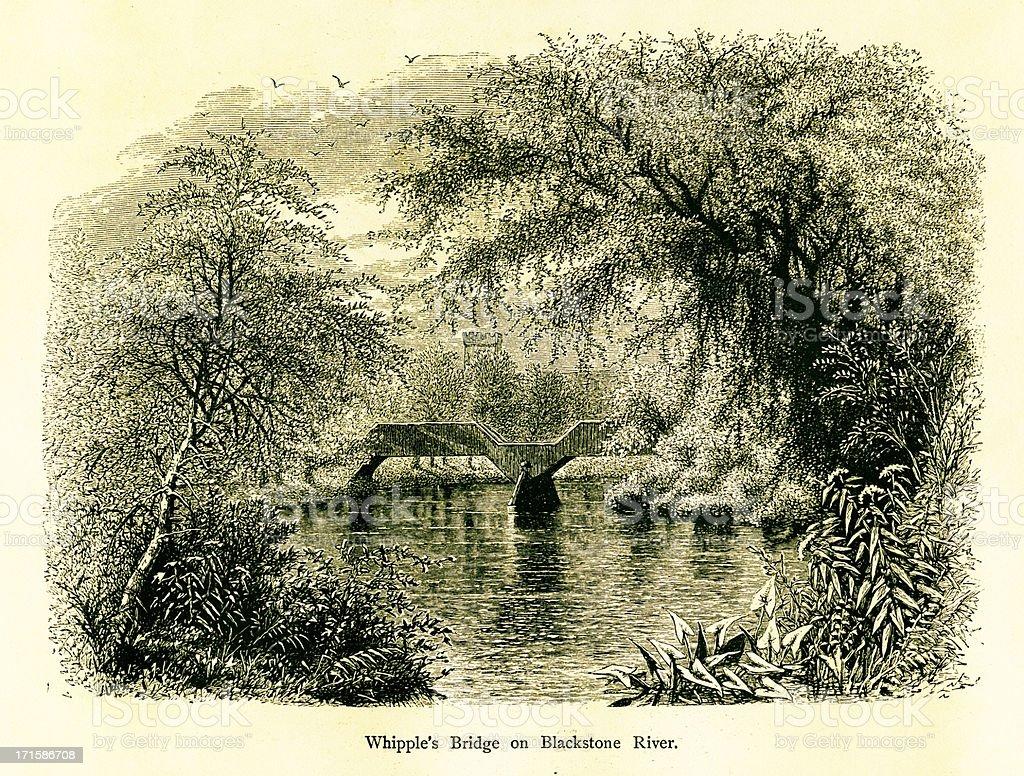 Whipple's Bridge on Blackstone River, Rhode Island royalty-free stock vector art