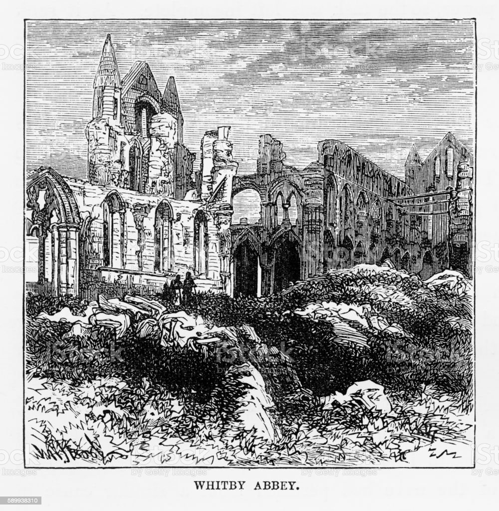 Whitby Abbey in Yorkshire, England Victorian Engraving, Circa 1840 vector art illustration