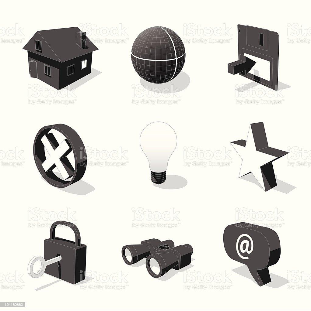 white 3D icon set 01 royalty-free stock vector art