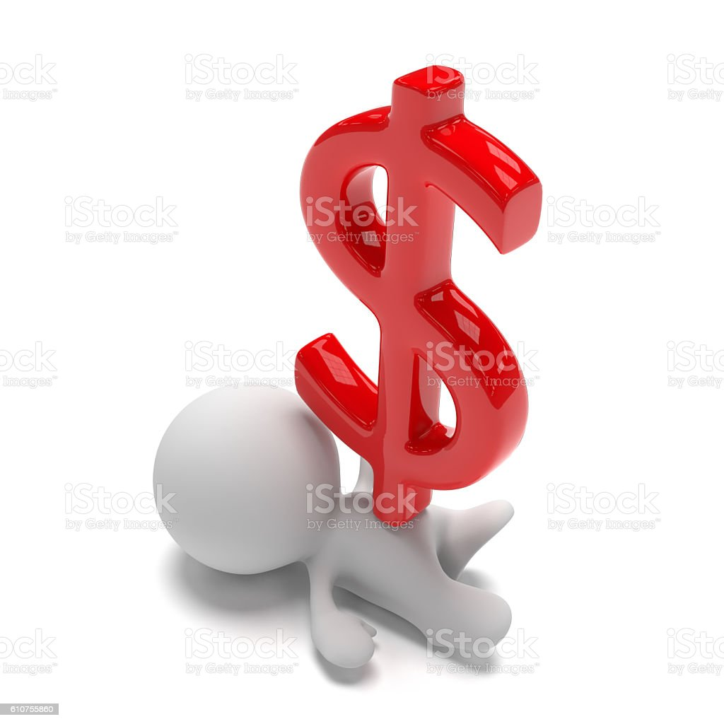 white 3d person lying under a huge red dollar sign vector art illustration