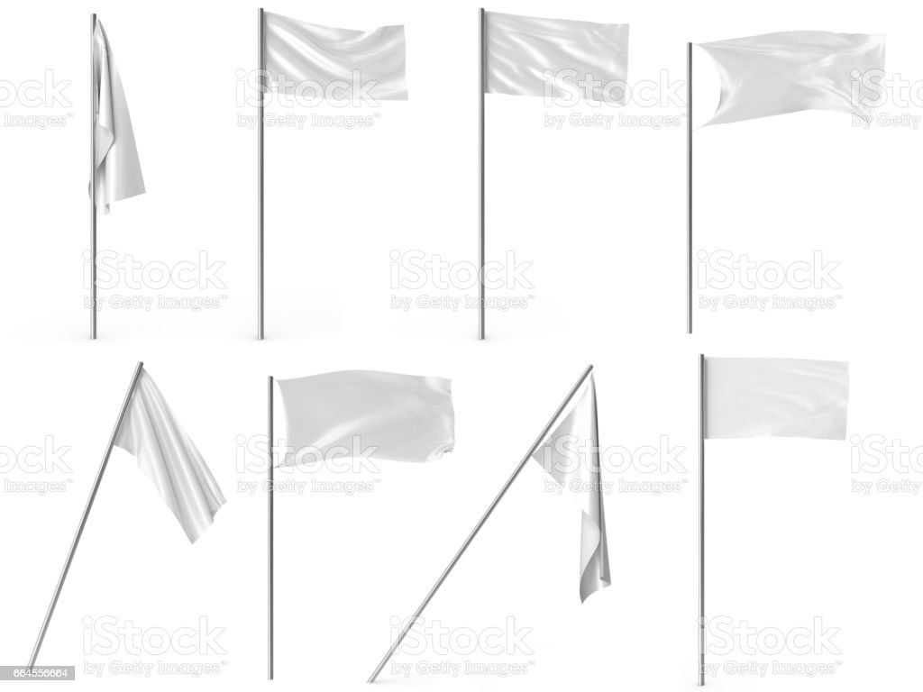 White advertising textile flags and banners set. Advertising flag banner and fabric canvas poster for your design projects. 3d rendering stock photo