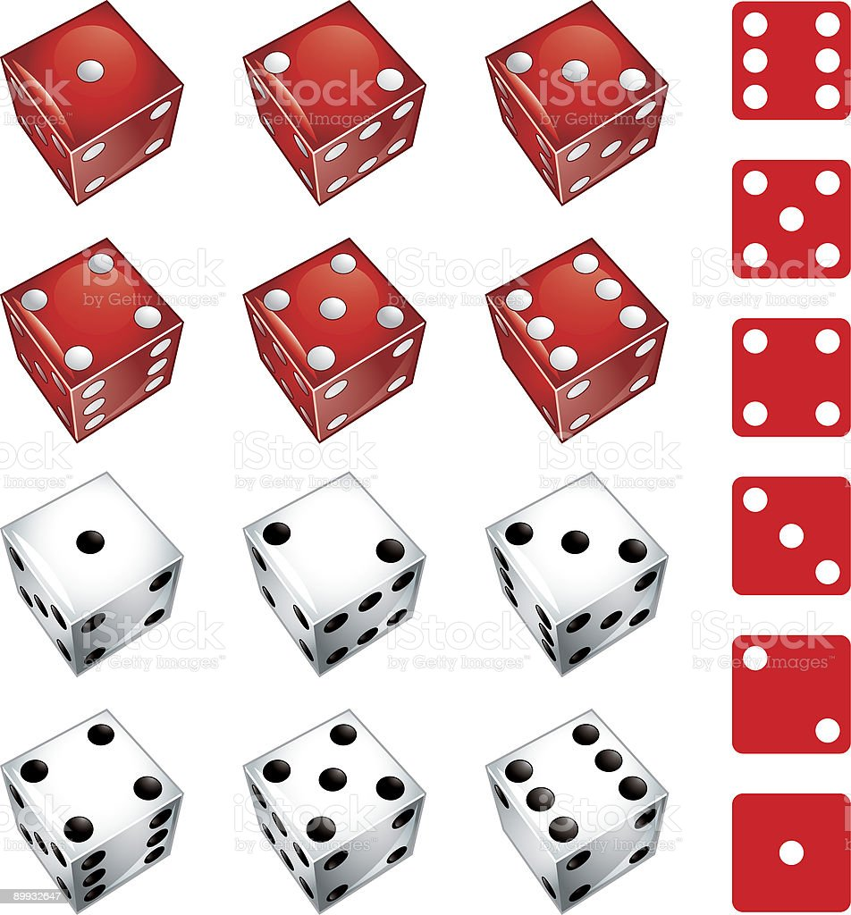 White and red dice vector art illustration