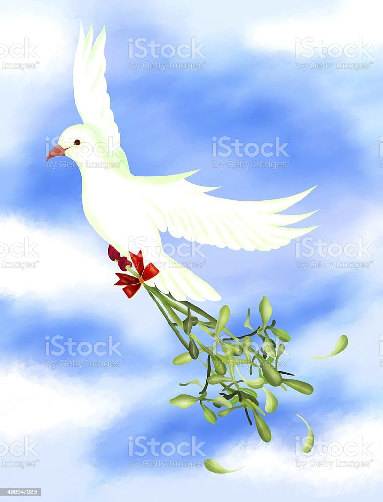 White Bird Carrying A Green Mistletoe in The Sky royalty-free stock vector art