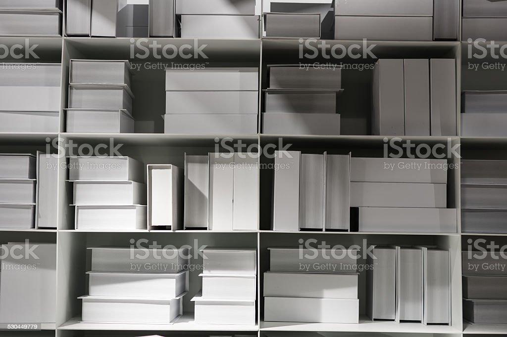 white bookshelves vector art illustration