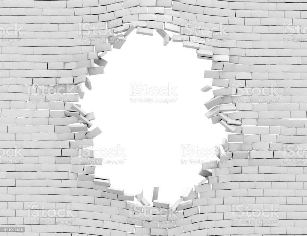 break through brick wall clip art vector images
