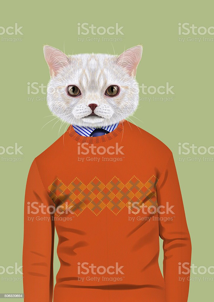 White Cat dressed up in casual style vector art illustration