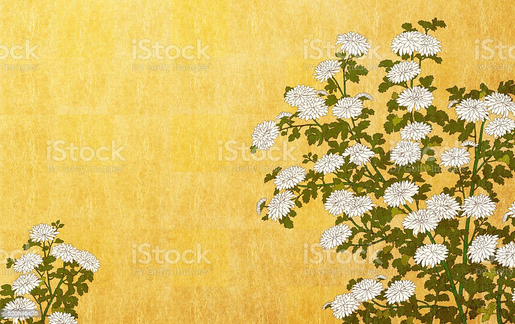 White chrysanthemum on gold leaf background vector art illustration