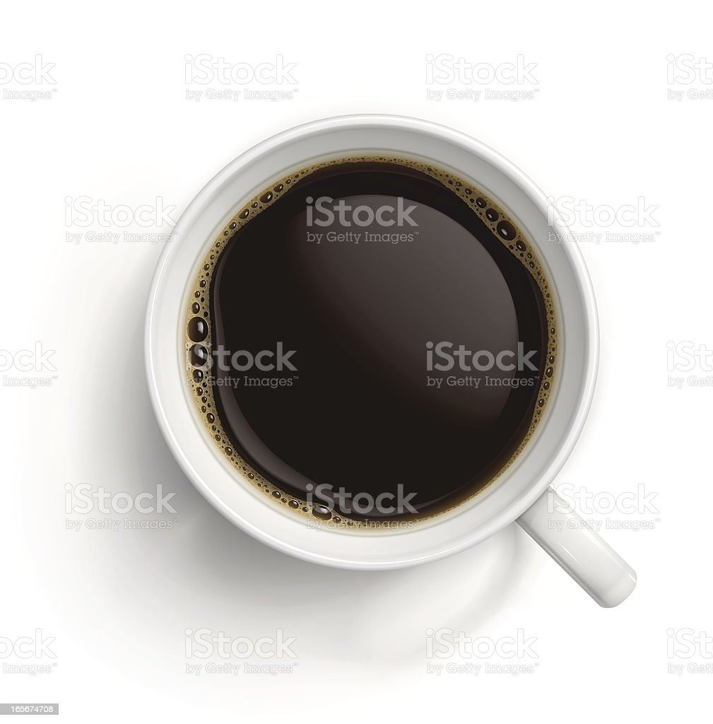 White cup with black coffee vector art illustration