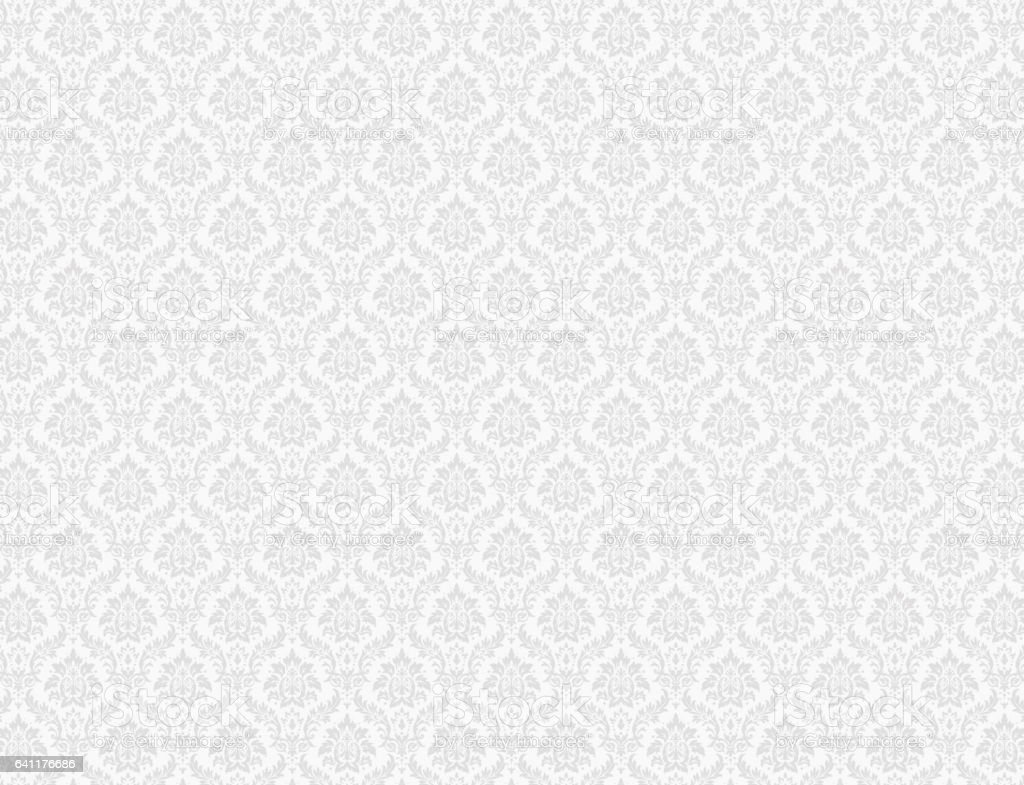 White damask pattern background vector art illustration