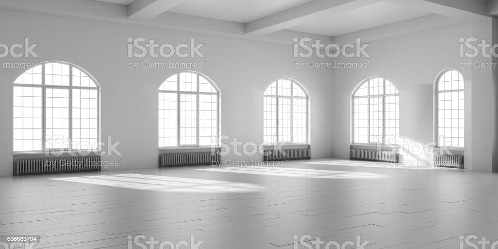 White empty loft interior. vector art illustration