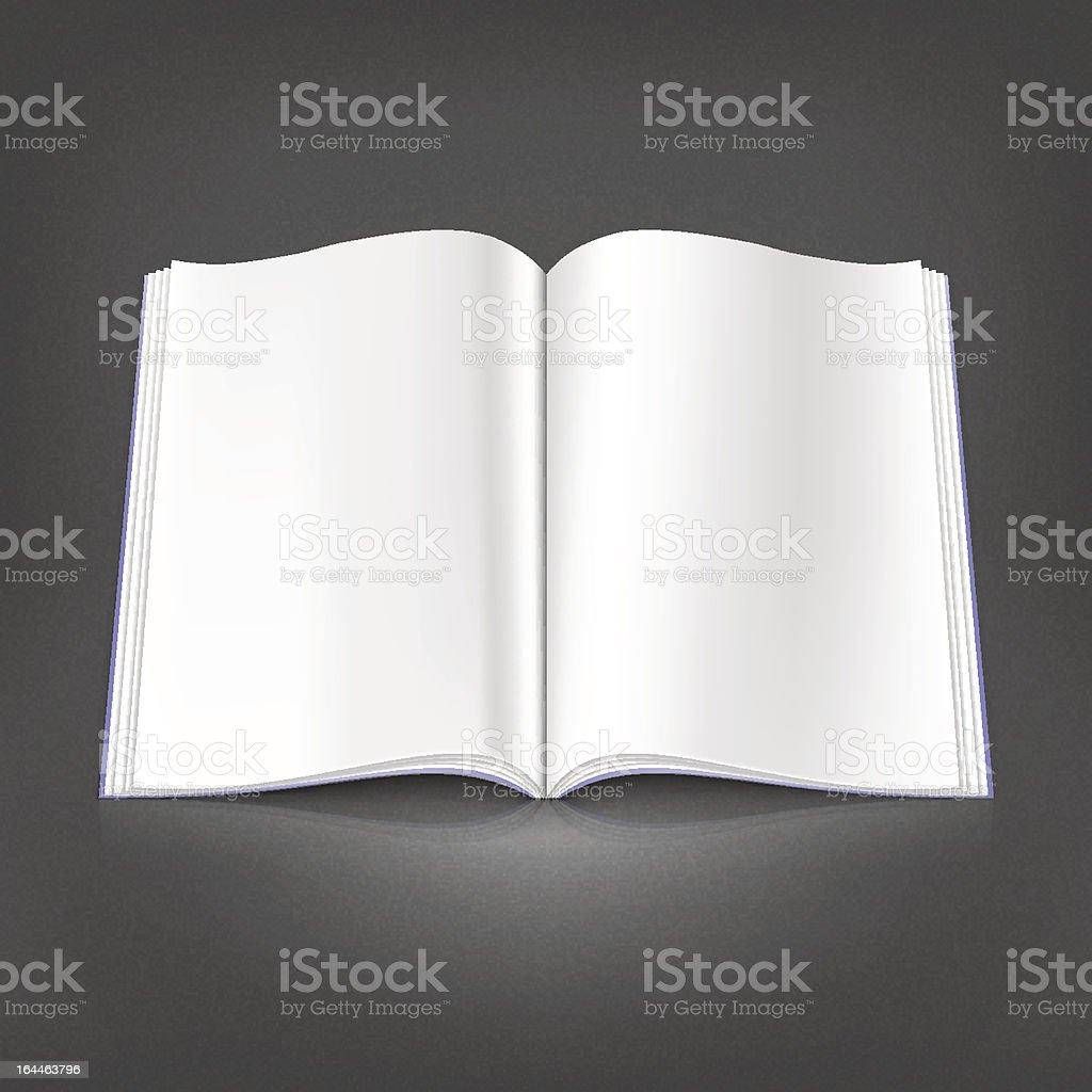 White empty open magazine spread page on gray dark background vector art illustration
