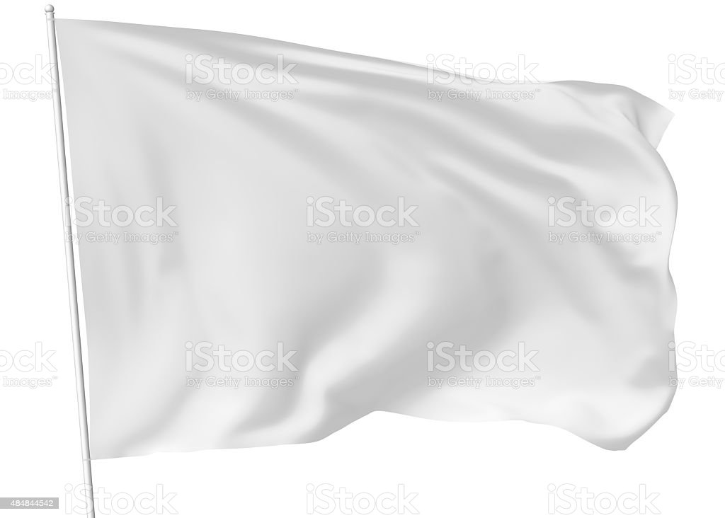 White flag on flagpole vector art illustration