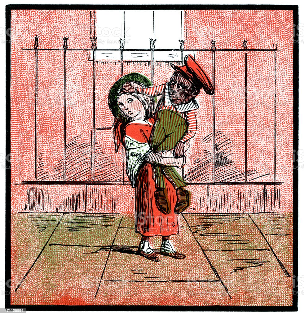White girl struggling with black boy (Victorian cartoon) vector art illustration