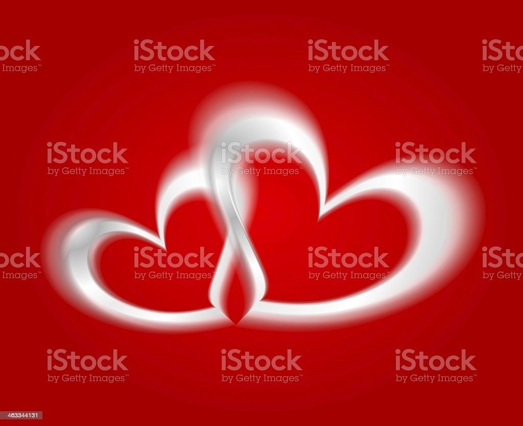White hearts on the red backdrop royalty-free stock vector art