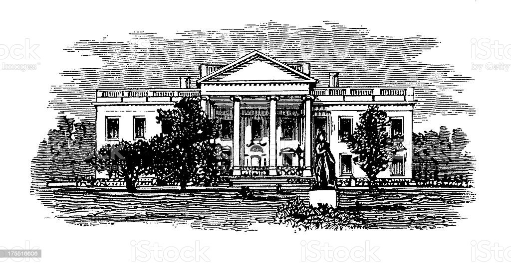 White House, Washington D.C. | Historic American Illustrations royalty-free stock vector art