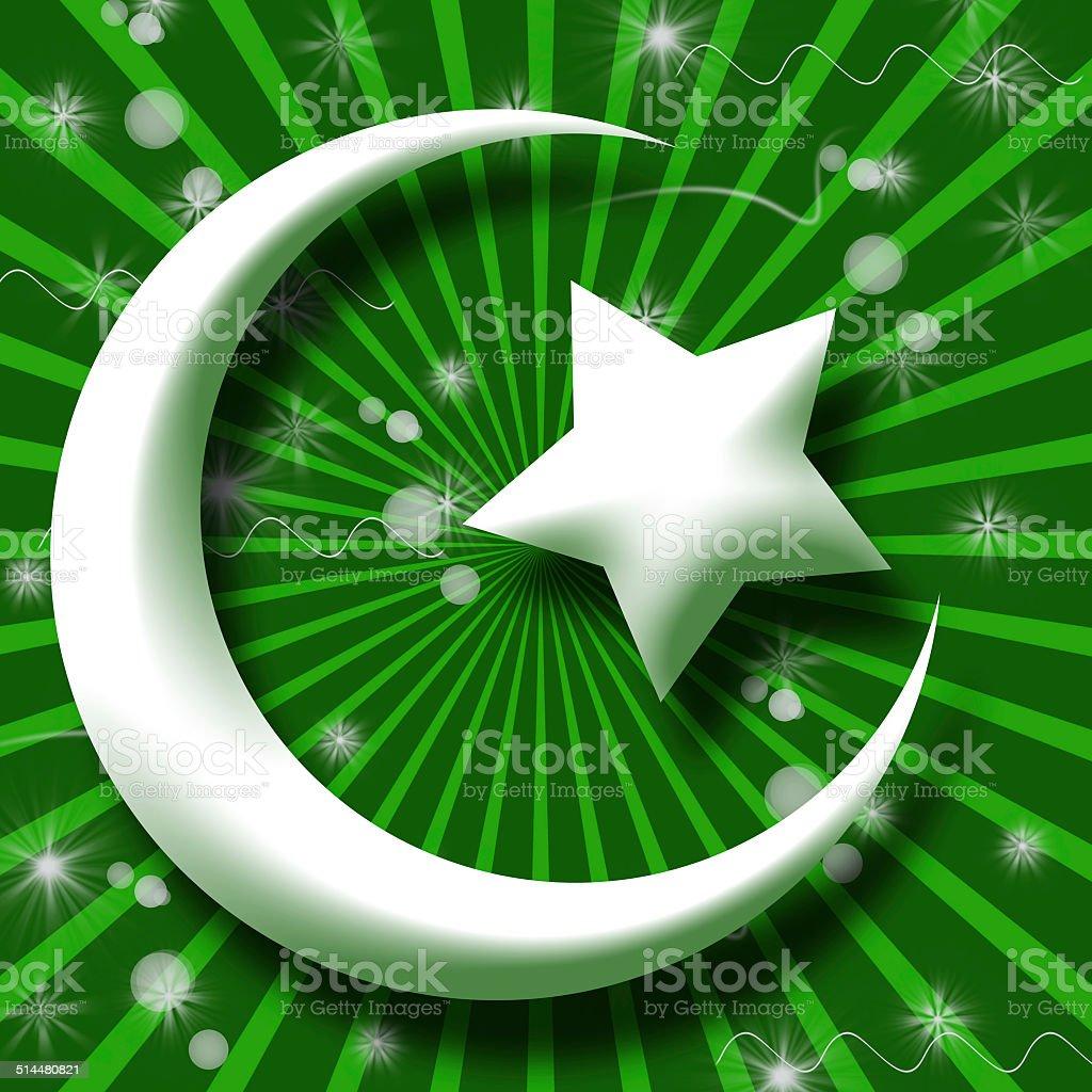 White Islam Symbol in Green Burst and Sparkle vector art illustration
