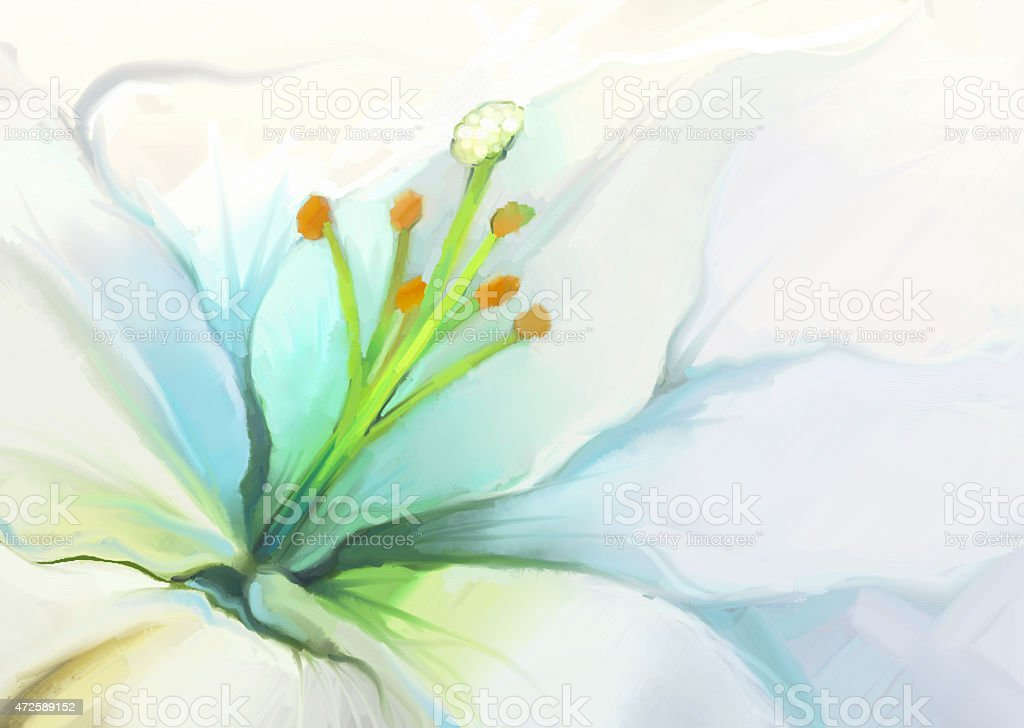 Close up White lily flower.Flower oil painting