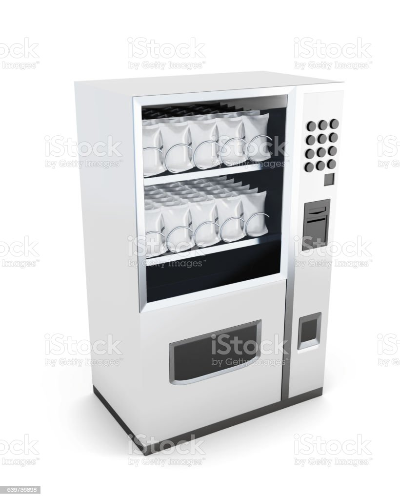 White machine for sale of snacks isolated on white background. vector art illustration