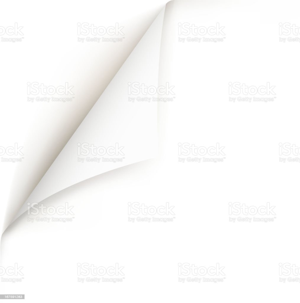 white page curl vector art illustration