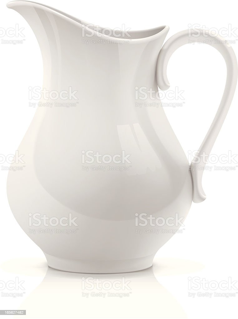 White pitcher vector art illustration