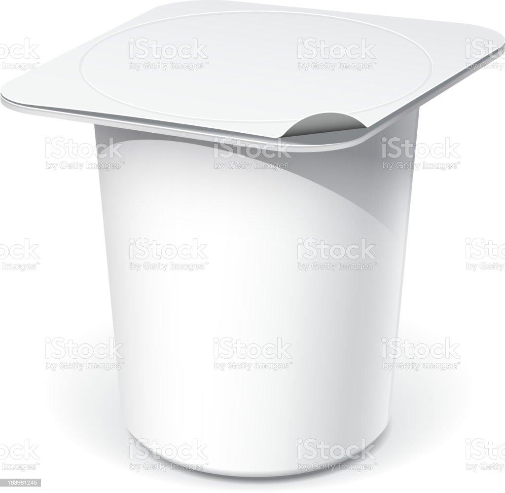 White plastic container for yogurt vector art illustration