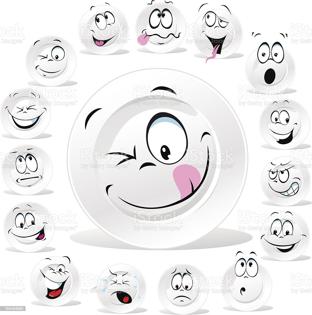 white plate cartoon with many expressions vector art illustration
