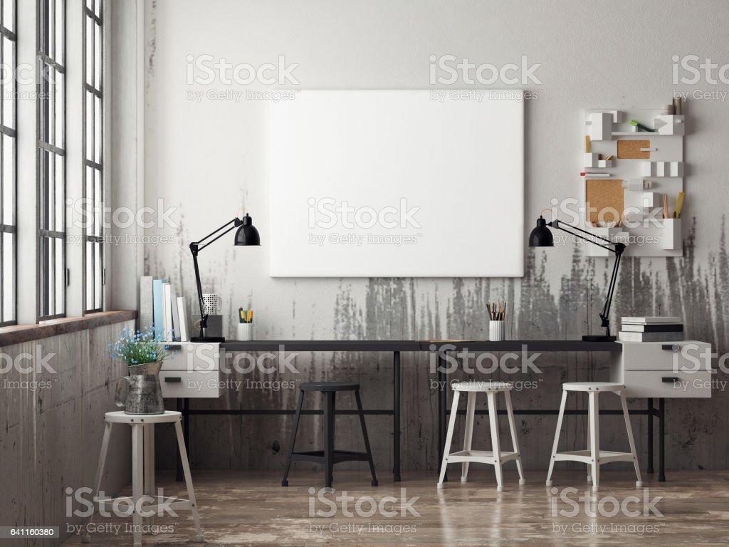 White poster in hipster office vector art illustration