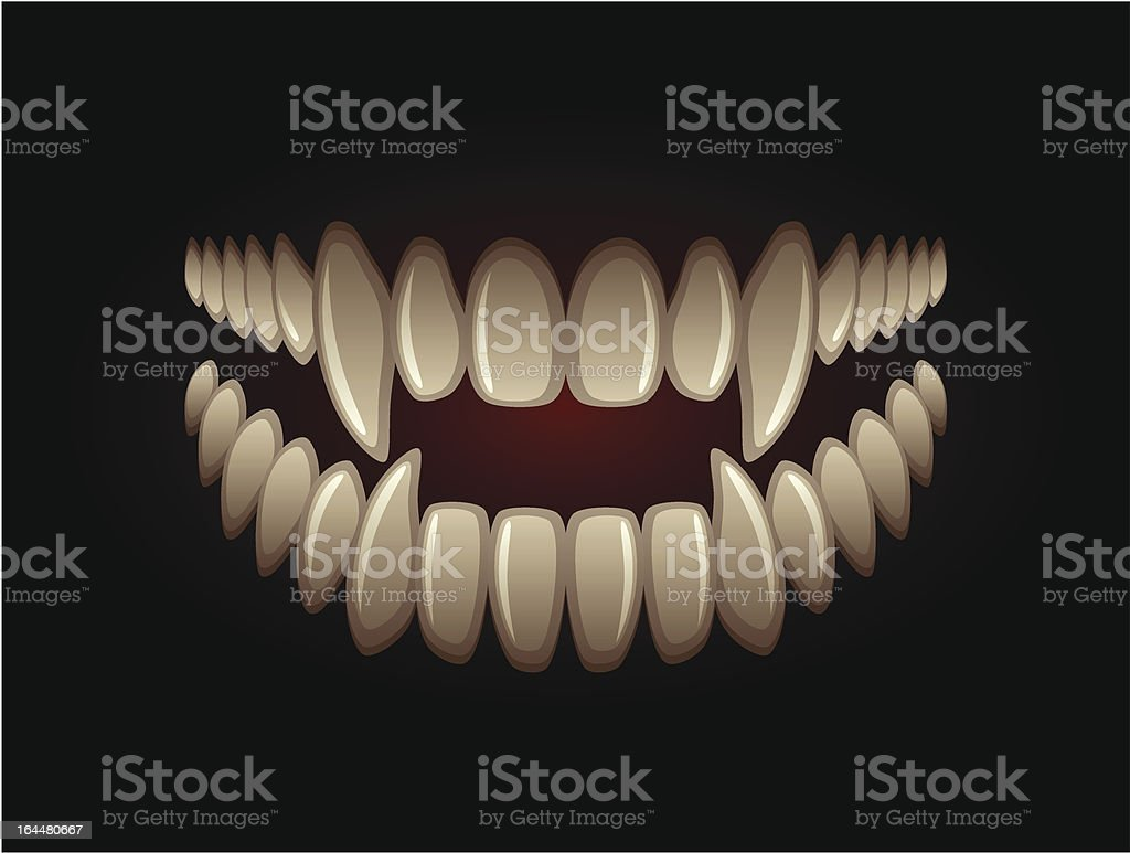 White predatory teeth on a black background royalty-free stock vector art