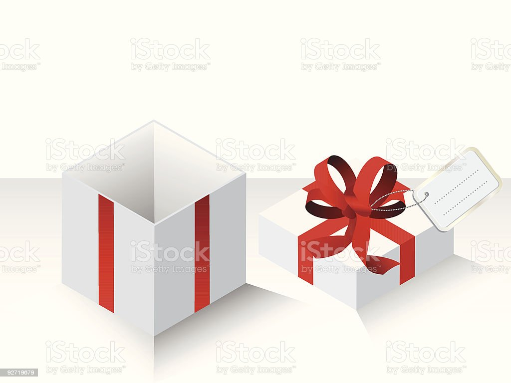 White present with red ribbon royalty-free stock vector art