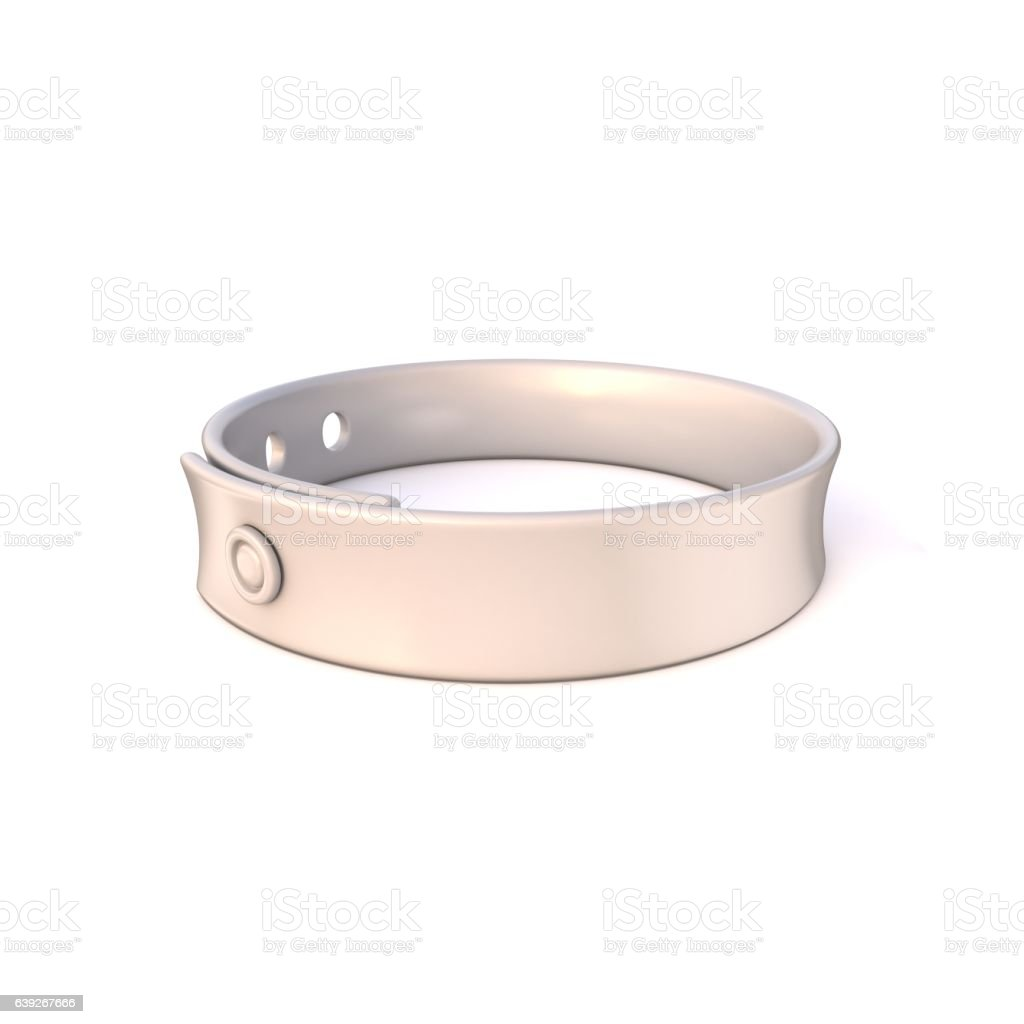 White rubber bracelet. 3D vector art illustration