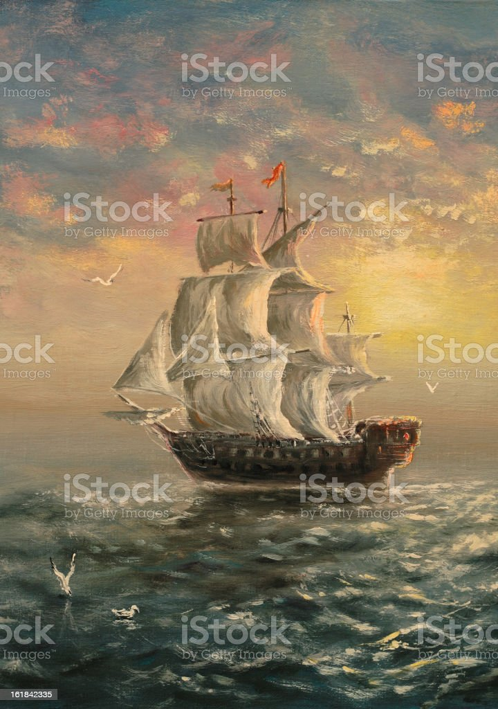 White sails royalty-free stock vector art