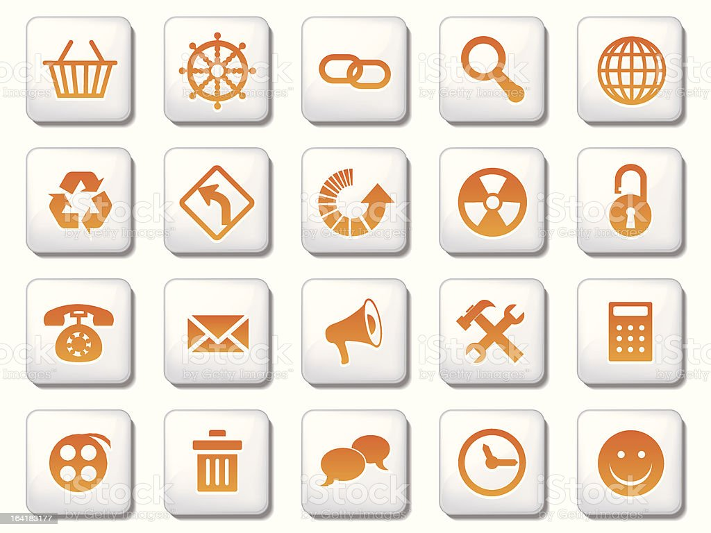 White square icon sets royalty-free stock vector art