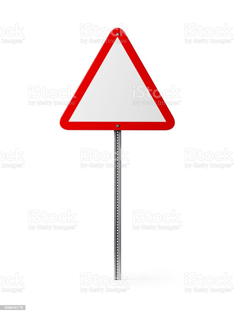 White Triangle Shaped Blank Traffic Sign Isolated On White Background vector art illustration