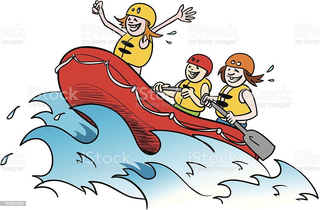 white water rafting 2 vector art illustration