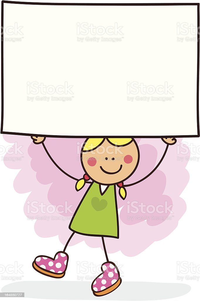 white young woman holding banner message cartoon illustration royalty-free stock vector art