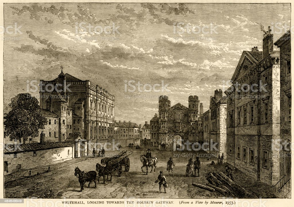 Whitehall, looking towards Holbein Gateway around 1753 vector art illustration