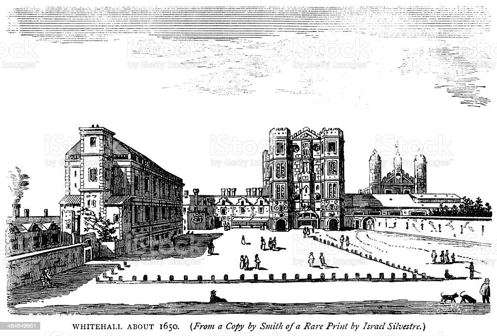 Whitehall Palace, London, about 1650 vector art illustration