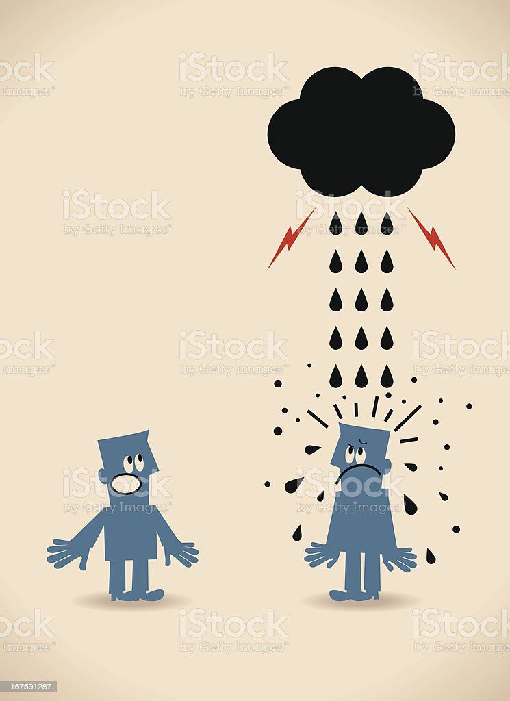 Why does it always rain on me vector art illustration