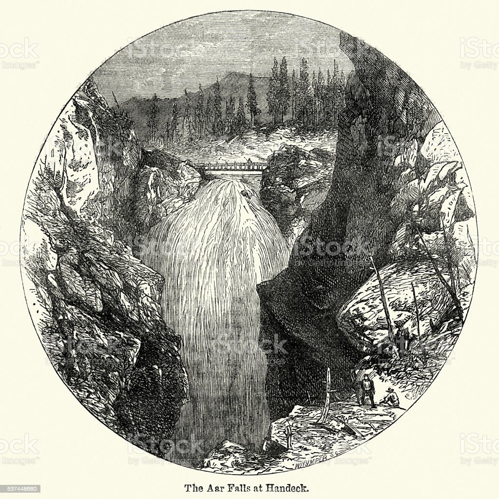 Whymper Aar Waterfalls Handeck Switzerland vector art illustration